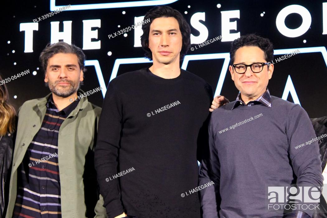"Stock Photo: Oscar Isaac, Adam Driver, J.J. Abrams 12/04/2019 """"Star Wars: The Rise of the Skywalker"""" Press Conference held in Pasadena, CA. Photo by I."