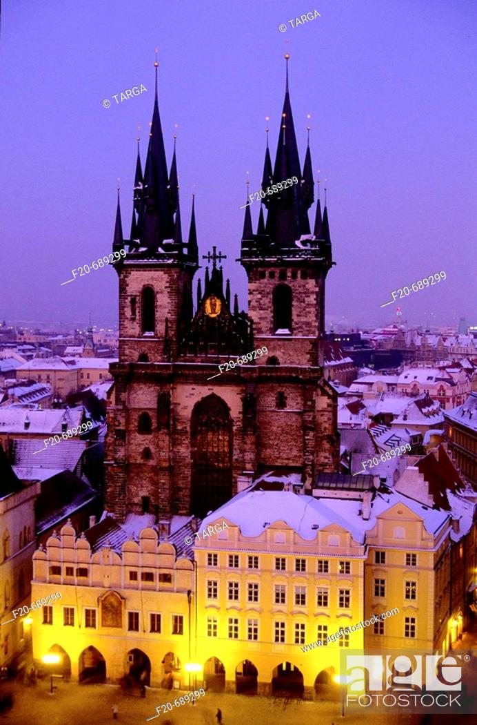 Stock Photo: Tyn church, Prague. Czech Republic.