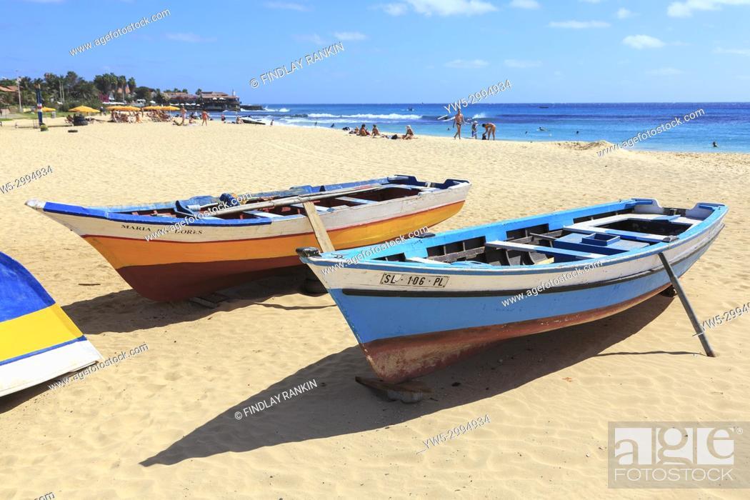 Stock Photo: View along south beach at Santa Maria, Sal, Salinas, Cape Verde, Africa.