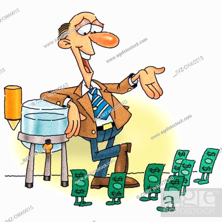 Stock Photo: A man having a water cooler talk with money.