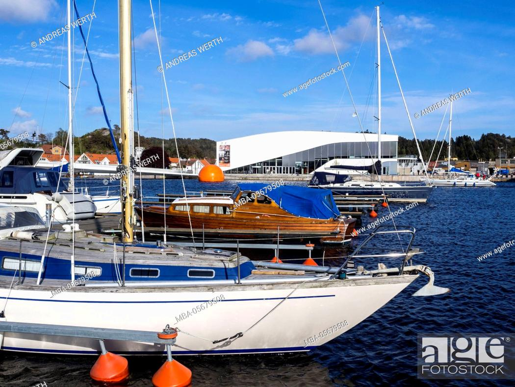 Stock Photo: Anchored boats, marina of Mandal, Vest-Agder, Norway.