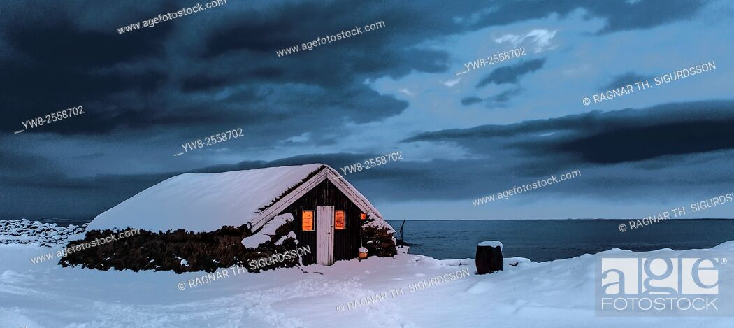 Stock Photo: Farmhouse in the winter, Skagafjordur, Iceland.