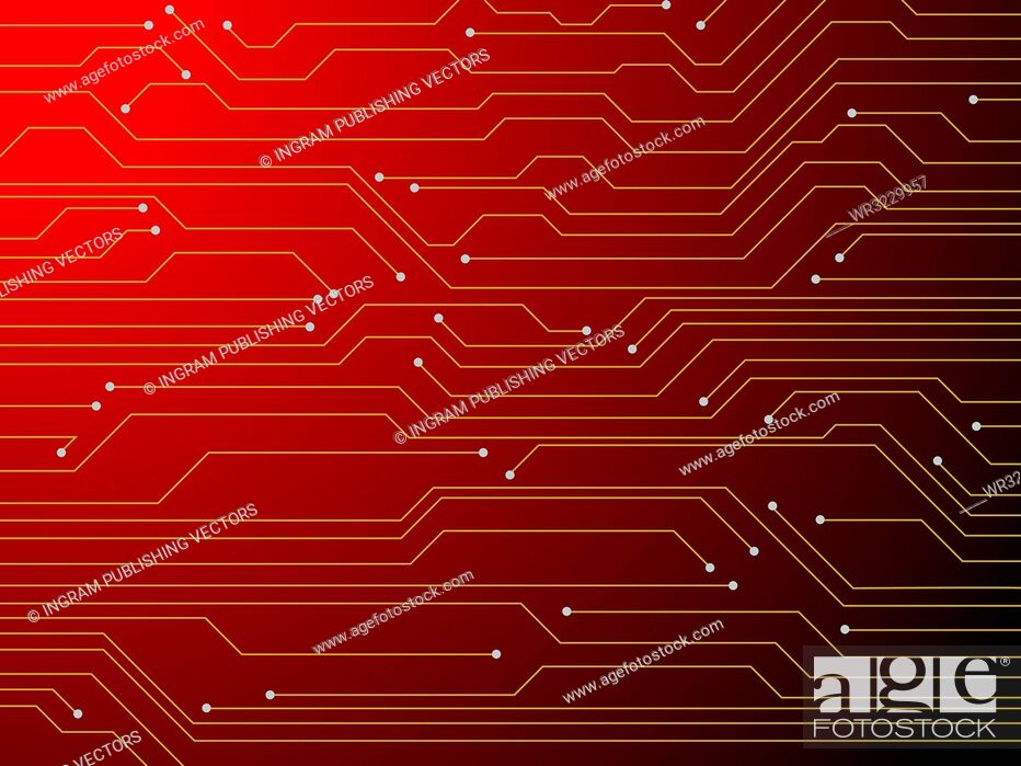 Vector: Illustration of a digital red circuit board that is ideal as a background.