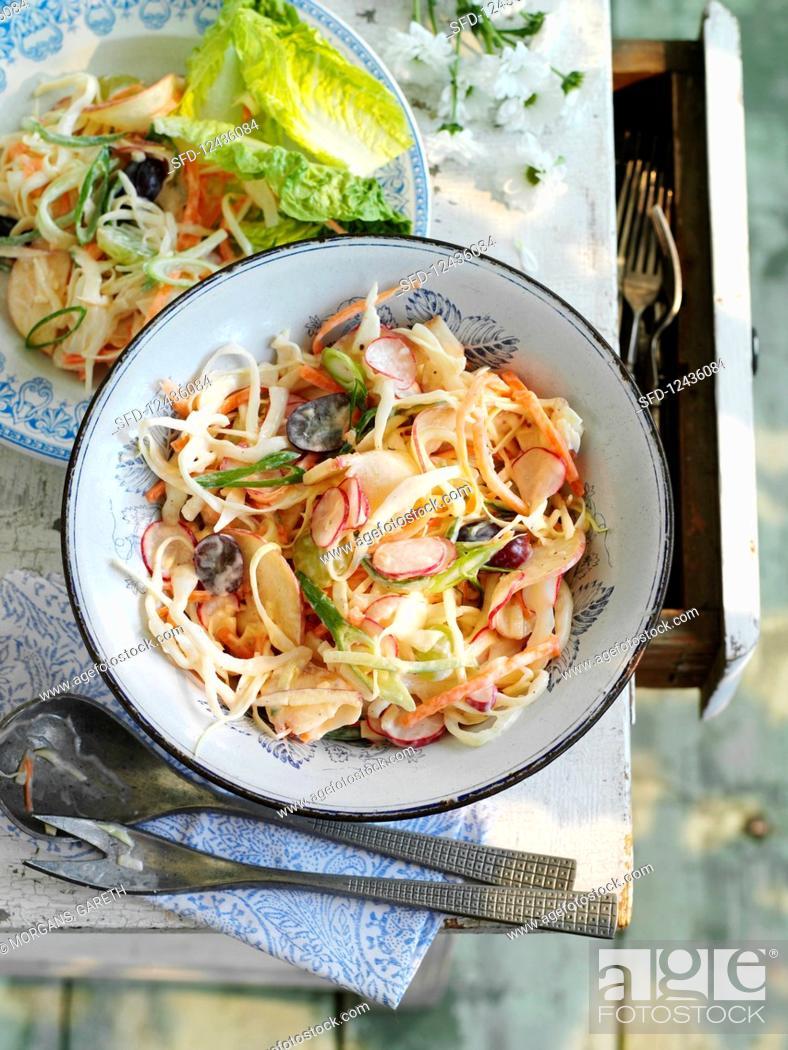 Stock Photo: Summery fruity coleslaw.