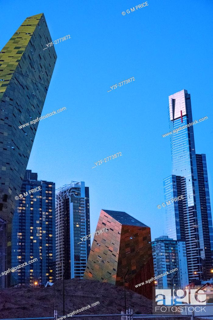 Stock Photo: sculptural features under construction near Southbank roadway, Melbourne.