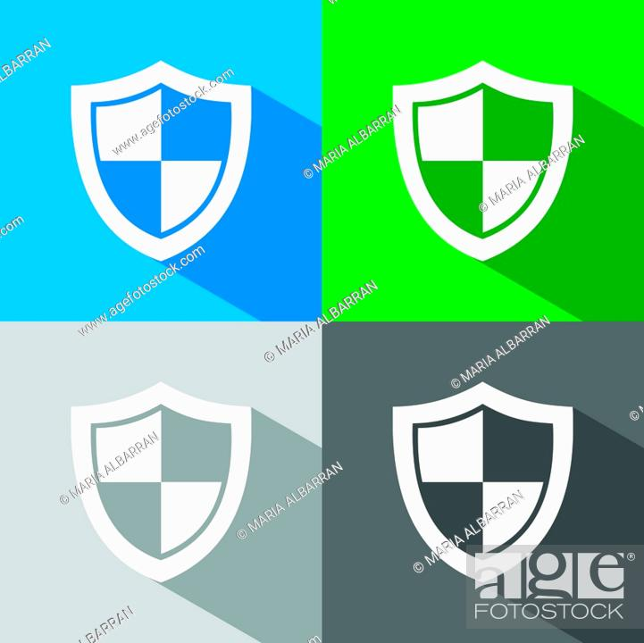Stock Vector: High security shield icon with shade on colored backgrounds.