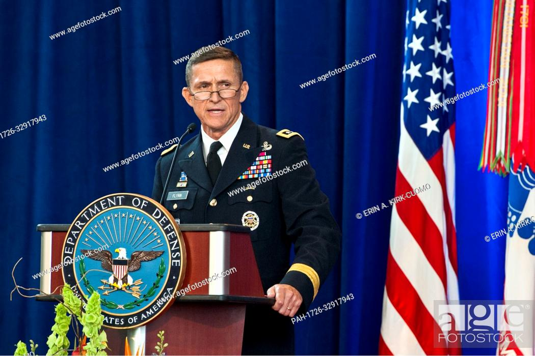 Stock Photo: HANDOUT - Army Lieutenant General Michael Flynn speaks at the Defense Intelligence Agency change of directorship at Joint Base Anacostia-Bolling, July 24, 2012.