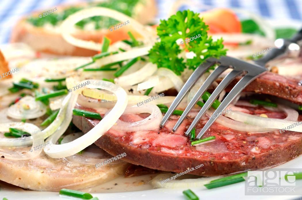 Stock Photo: Bavarian sausage salad.