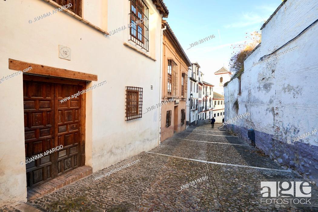 Stock Photo: Cuesta de San Gregorio Granada, Andalusia, Spain, Europe.