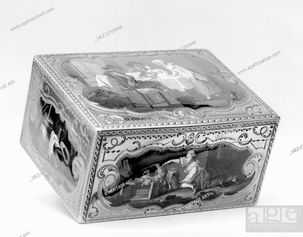 Photo de stock: Snuffbox with peasant scenes, 1760-61. Creator: Unknown.
