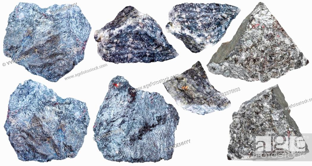 Stock Photo: collection from specimens of antimony ore (Stibnite, antimonite) isolated on white background.