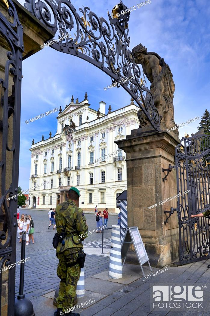 Stock Photo: Prague Czech Republic. The entrance of the castle and the archbishop palace.