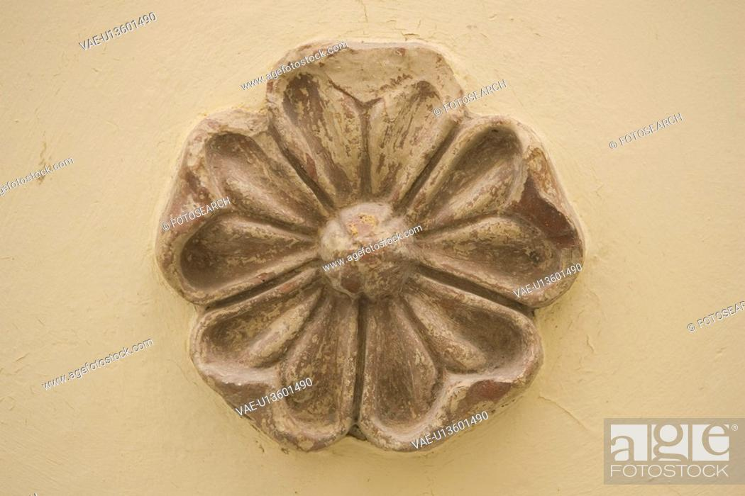 Stock Photo: Carving, Close-Up, Flower, Indoors.