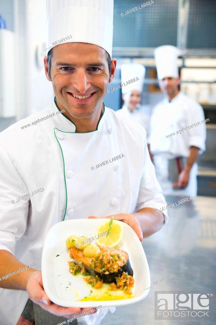 Stock Photo: Grilled salmon. Luis Irizar cooking school. Donostia, Gipuzkoa, Basque Country, Spain.