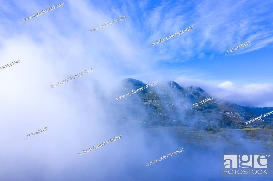 Stock Photo: Mists in the Port of the Portillo de Lunada. Pasiegos Valleys. Merindades region. Burgos province. Community of Castilla y León. Spain, Europe.