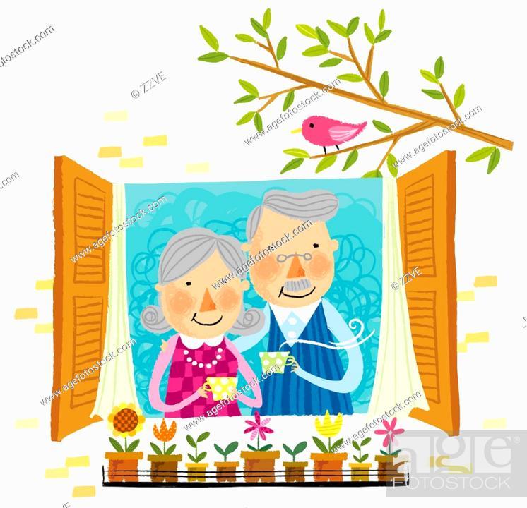 Stock Photo: Elderly couple drinking cup of tea beside window.