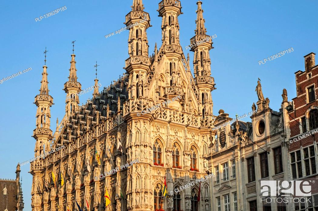 Stock Photo: The Gothic town hall in Brabantine Late Gothic style at the Grote Markt / Main Market square, Leuven / Louvain, Belgium.