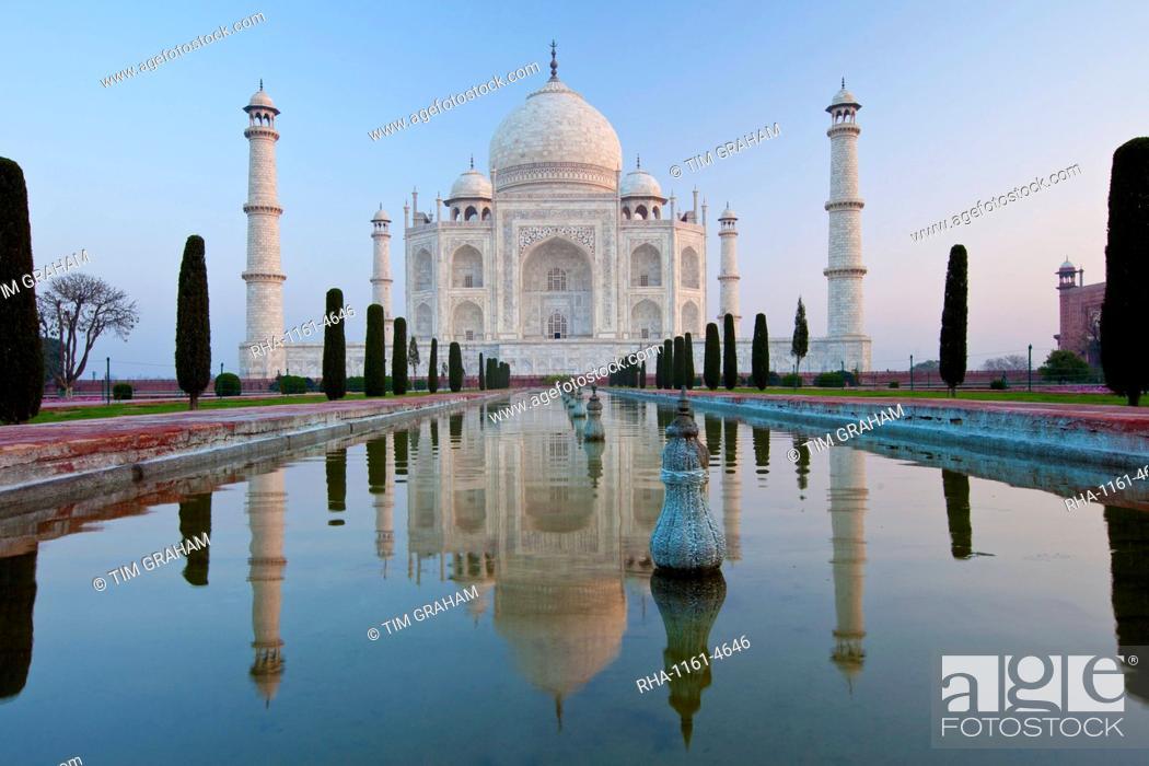 Stock Photo: The Taj Mahal mausoleum southern view with reflecting pool and cypress trees, Uttar Pradesh, India.
