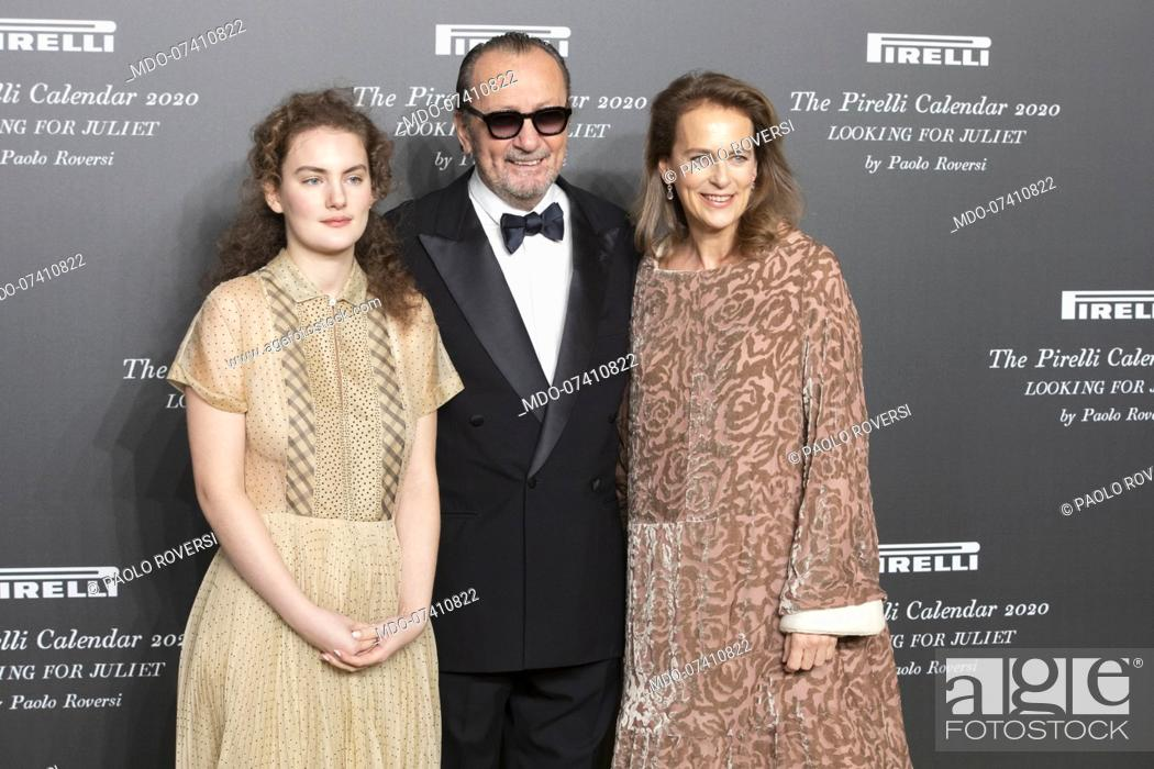 Stock Photo: Italian photographer Paolo Roversi with his partner and Stella Roversi during the presentation of the Pirelli 2020 Calendar at the Verona Philharmonic Theater.