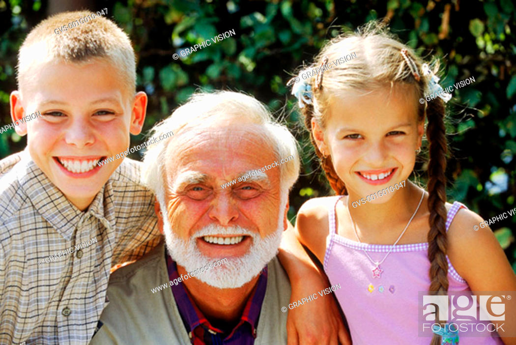 Stock Photo: Close-up of a grandfather with grandchildren.