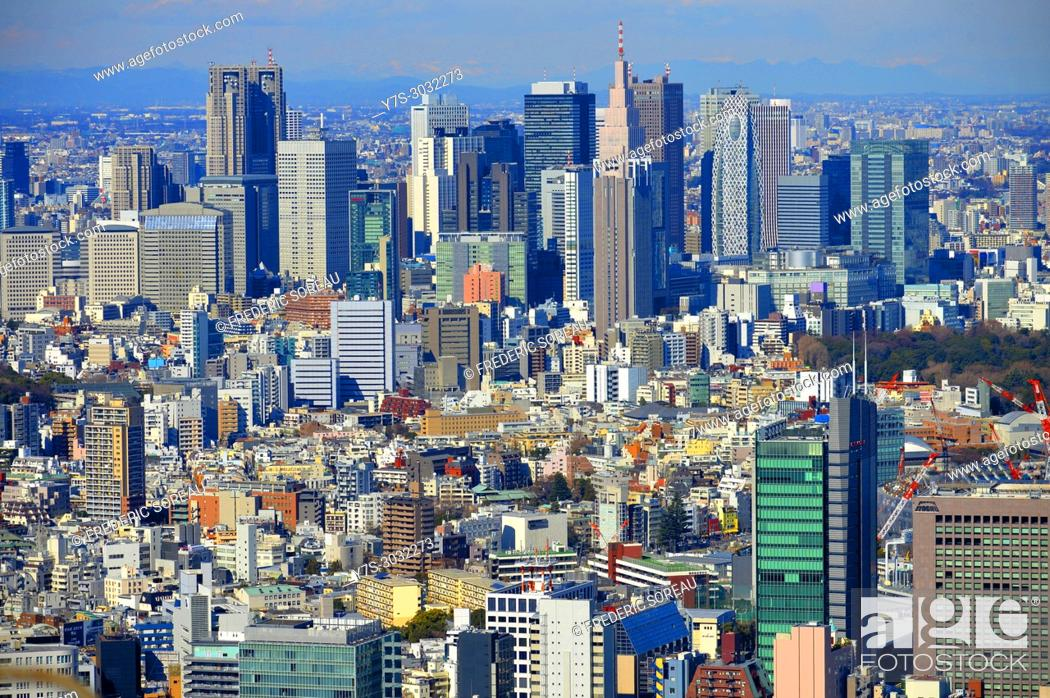 Stock Photo: Aerial view of Metropolitan Tokyo from atop the Mori Tower at Rappongi Hills, Tokyo, Japan, Asia.