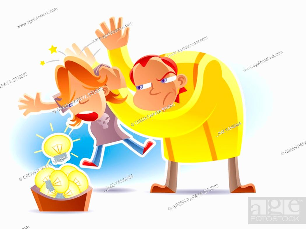 Stock Photo: A father making his son spit out lightbulb by hitting the boy on the back.
