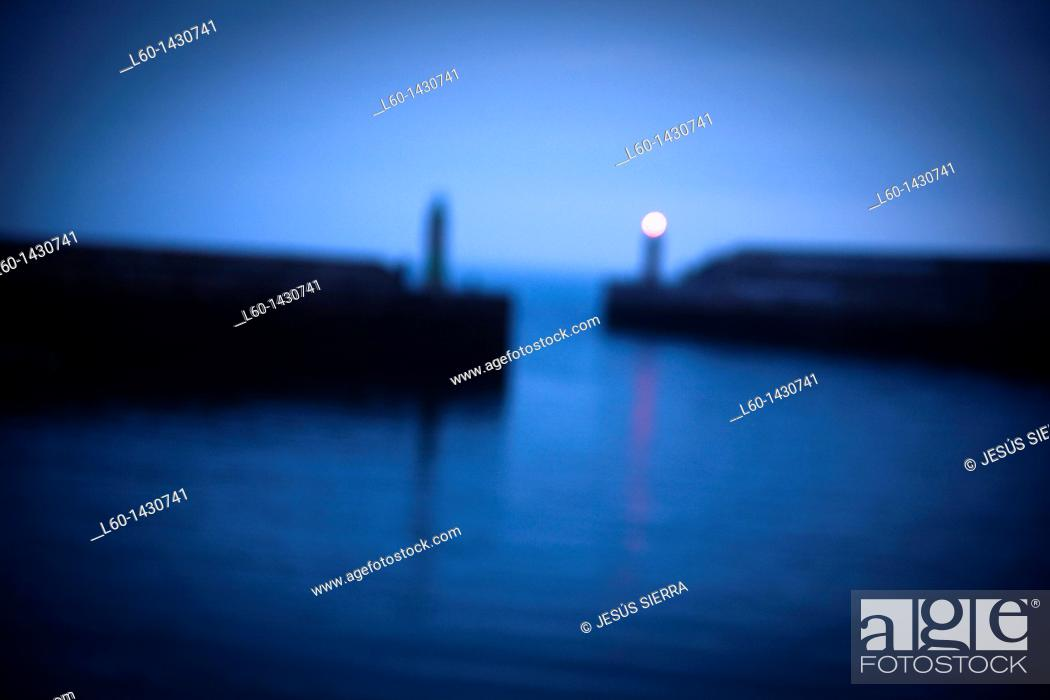 Stock Photo: Blurred Harbour, Tapia de Casariego, Asturias, Spain.