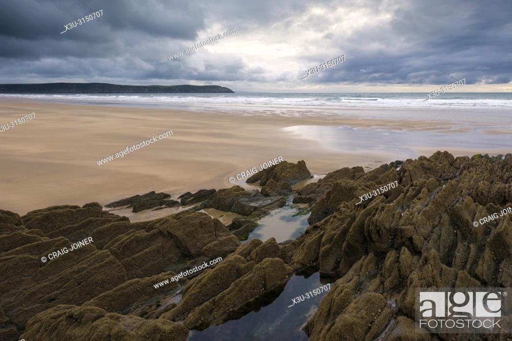 Stock Photo: Woolacombe Sand on the North Devon coastline, England.