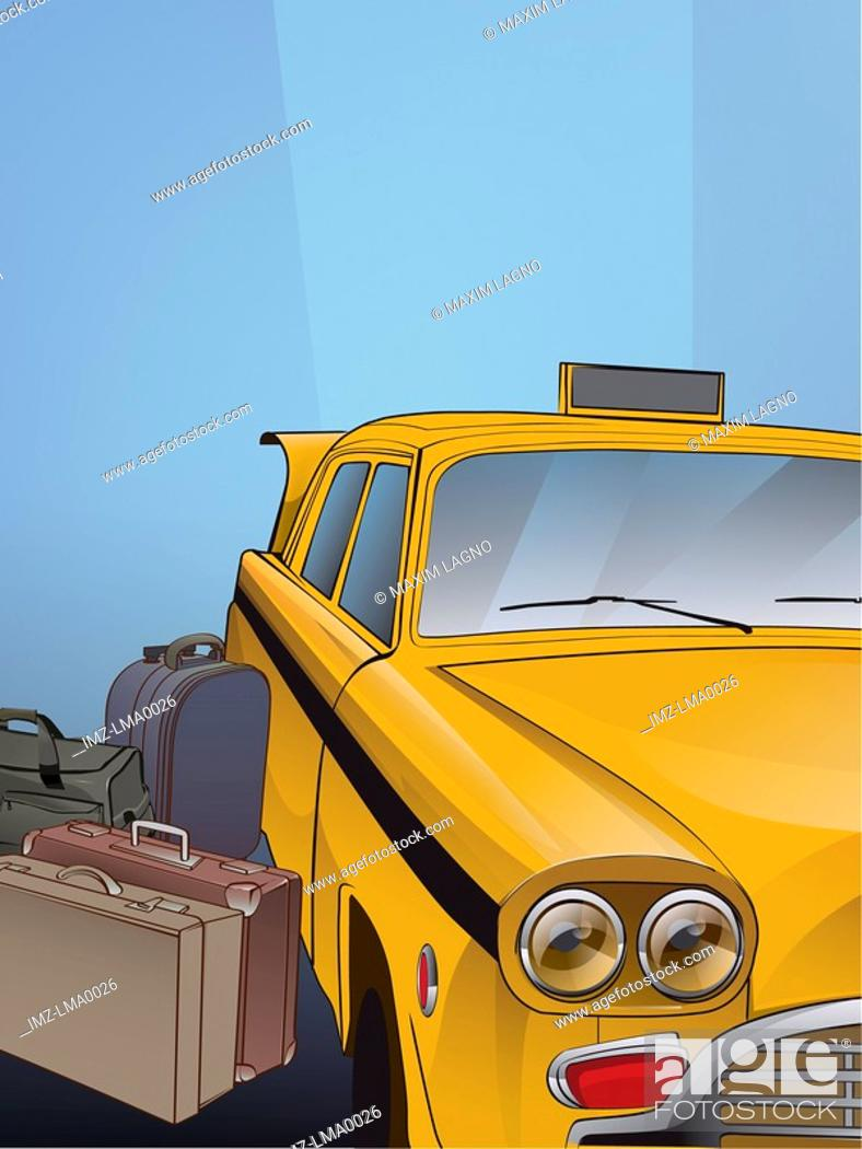 Stock Photo: A taxi cab and luggage.