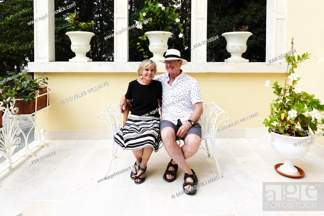 Stock Photo: A couple on a terrace in Martina Franca, Puglia, Italy.