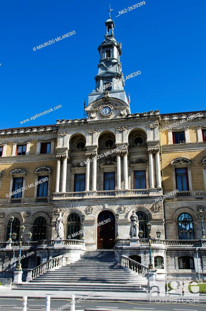 Stock Photo: Detail of the City Hall Bilbao, Biscay, Spain, Europe, In front of a clear blue sky.