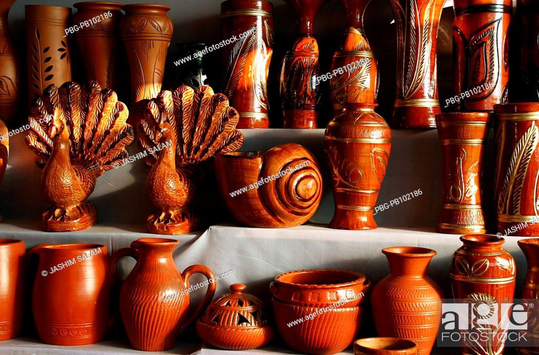 Stock Photo: Pottery on display at a shop in Chittagong, Bangladesh November 2008.