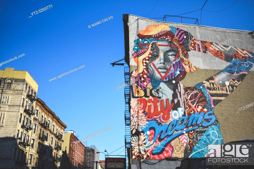 Stock Photo: Graffiti on building wall in downtown Manhattan, New York.