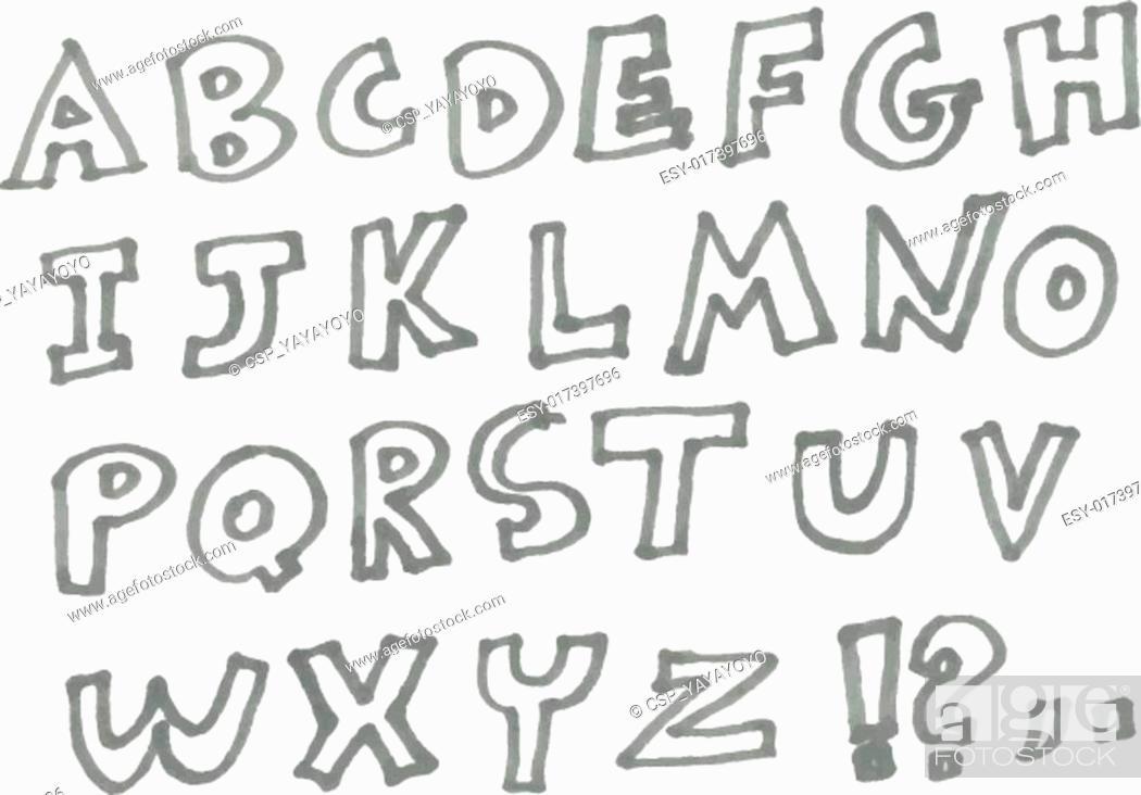 Stock Vector: Marker alphabet.