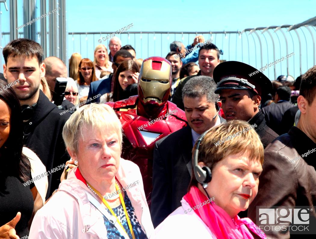 Stock Photo: Iron Man visits the Empire State Building in NYC for the the Police Athletic League's Centennial. Featuring: Iron Man Where: New York, New York.
