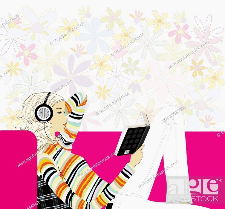 Imagen: Woman listening to headphones and reading book.