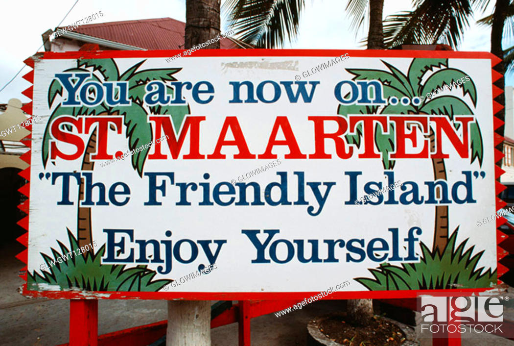 Stock Photo: Front view of a hoarding displaying the destination, St. Martin.