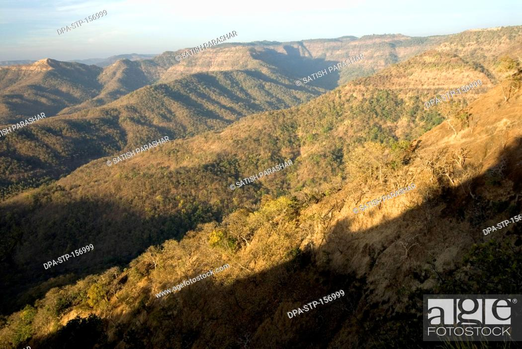 Ranges of Satpura mountains in early morning light