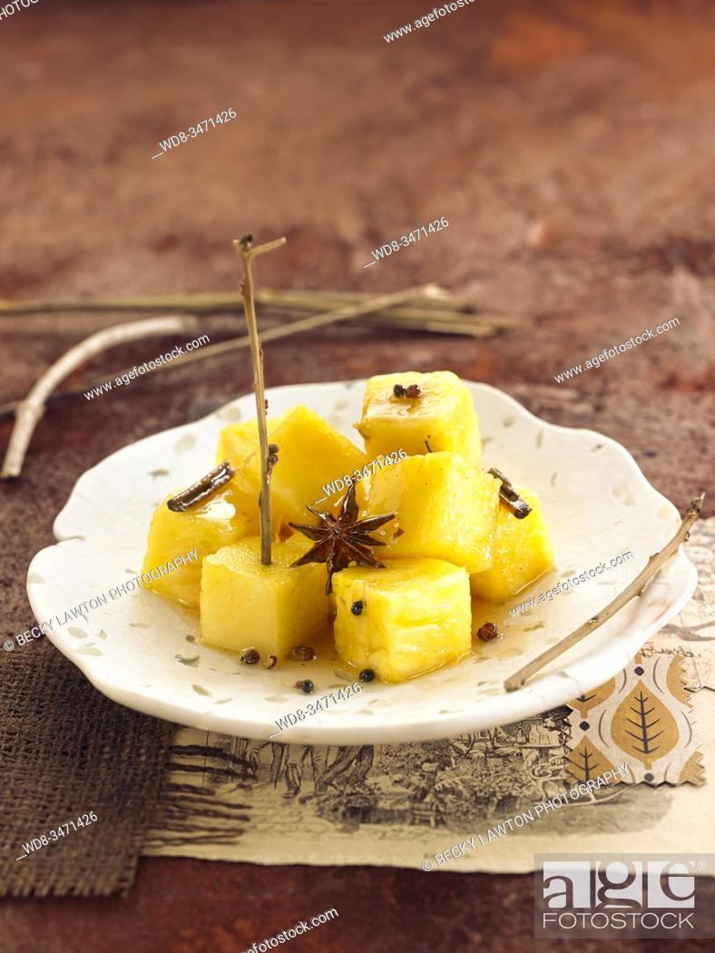 Stock Photo: piña especiada / spicy pineapple.