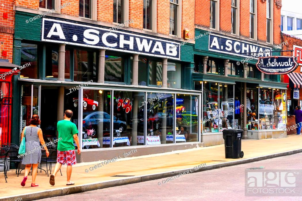 Stock Photo: A. Schwab Restaurant and nightclub on Beale Street in Memphis Tennessee.