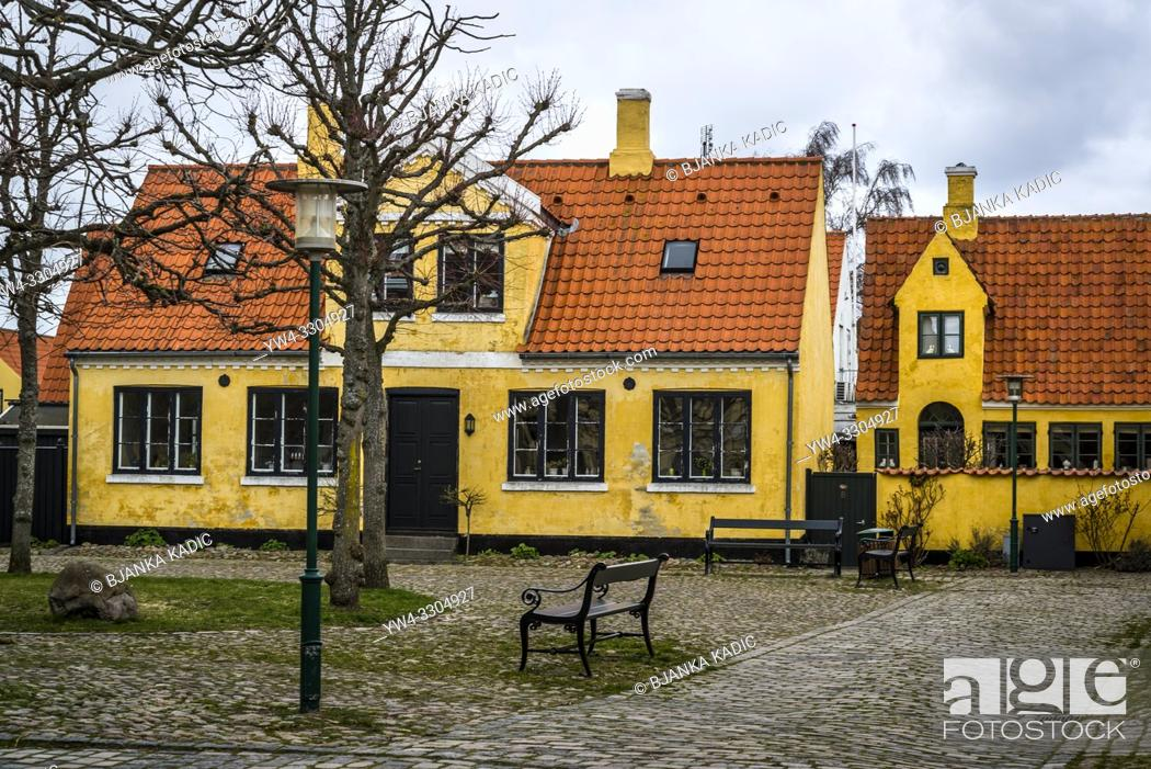 Stock Photo: Picturesque old-fashioned houses in well preserved Dragor village near Copenhagen, Denmark.