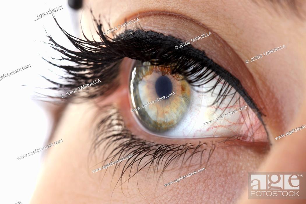 Stock Photo: Close up  Women's Eye photography makeup.