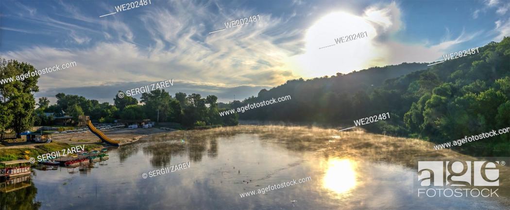 Stock Photo: Svyatogorsk, Ukraine 07. 16. 2020. Seversky Donets River near the Svyatogorsk or Sviatohirsk lavra on a sunny summer morning.