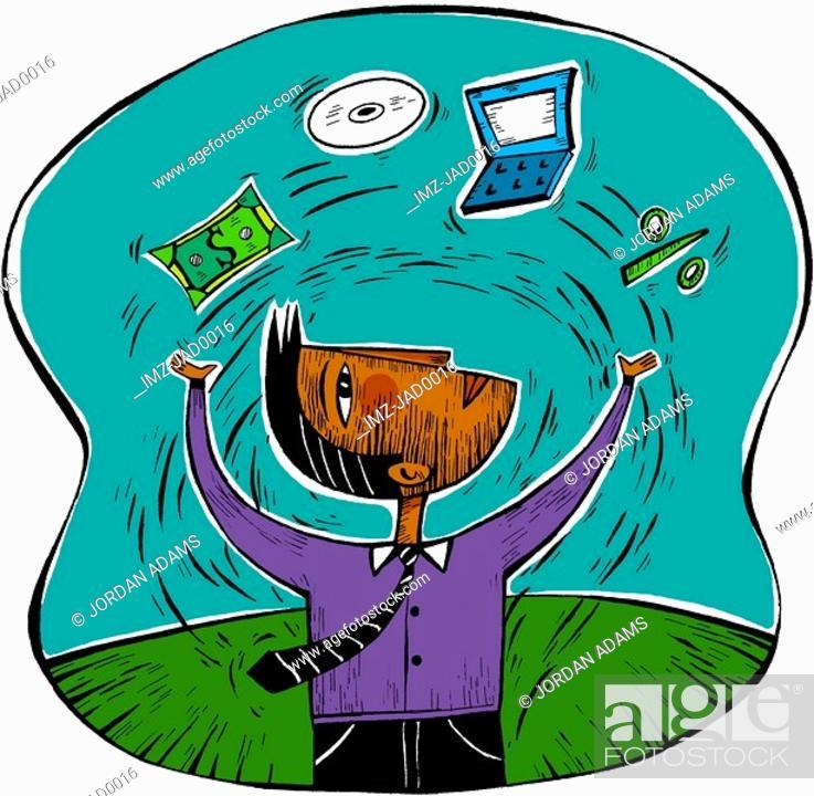 Stock Photo: Man juggling money and technology.