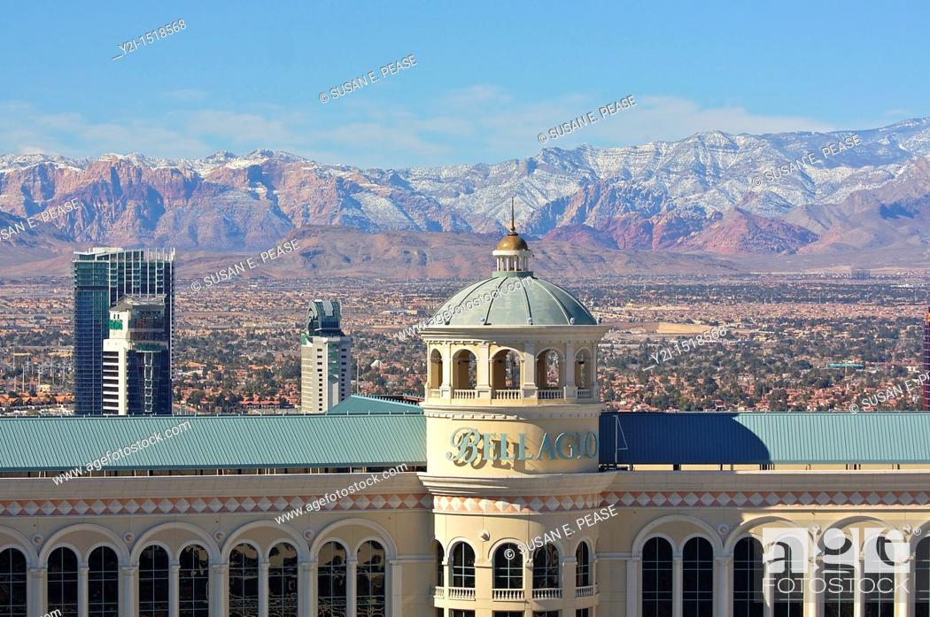 Stock Photo: Detail of the Bellagio hotel and the mountains beyond in winter  Las Vegas, Nevada, United States.