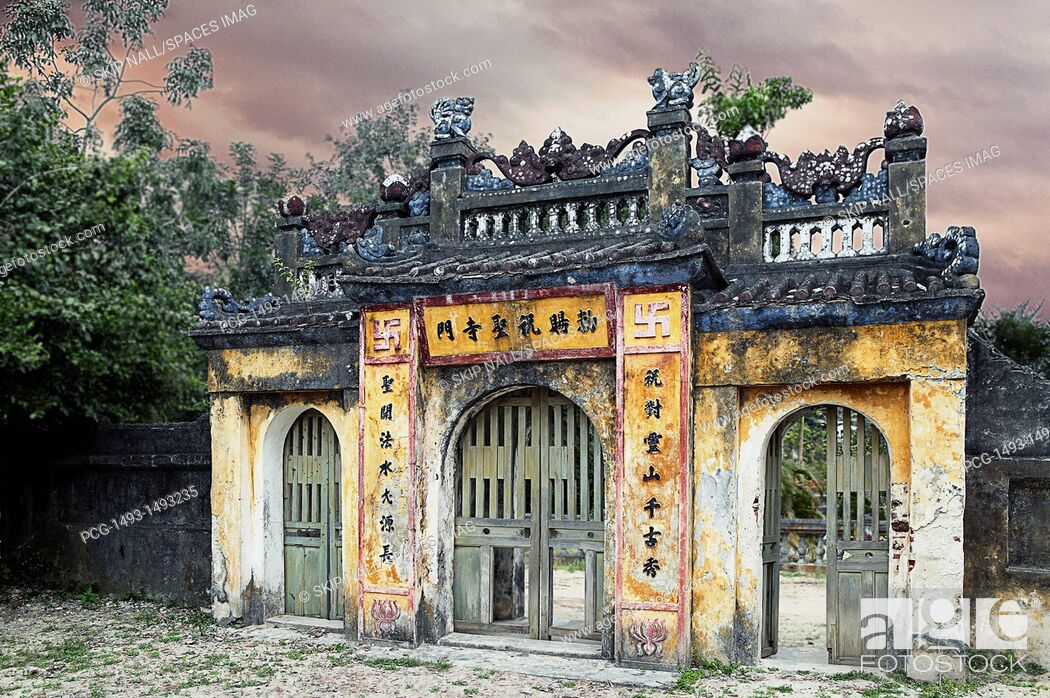 Stock Photo: Weathered Oriental Gateway.