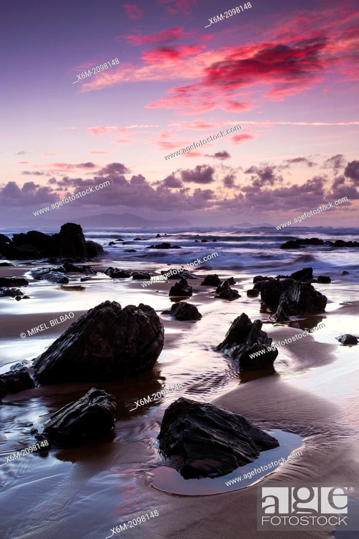 Stock Photo: Barrika beach at sunset. Biscay, Basque Country, Spain.