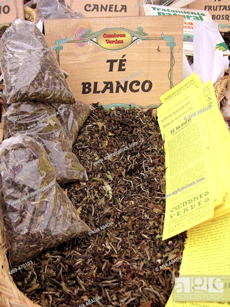 Stock Photo: Herbal infusion bags for sale. Fira Avícola Raça Prat, El Prat de Llobregat, Barcelona province, Catalonia, Spain.