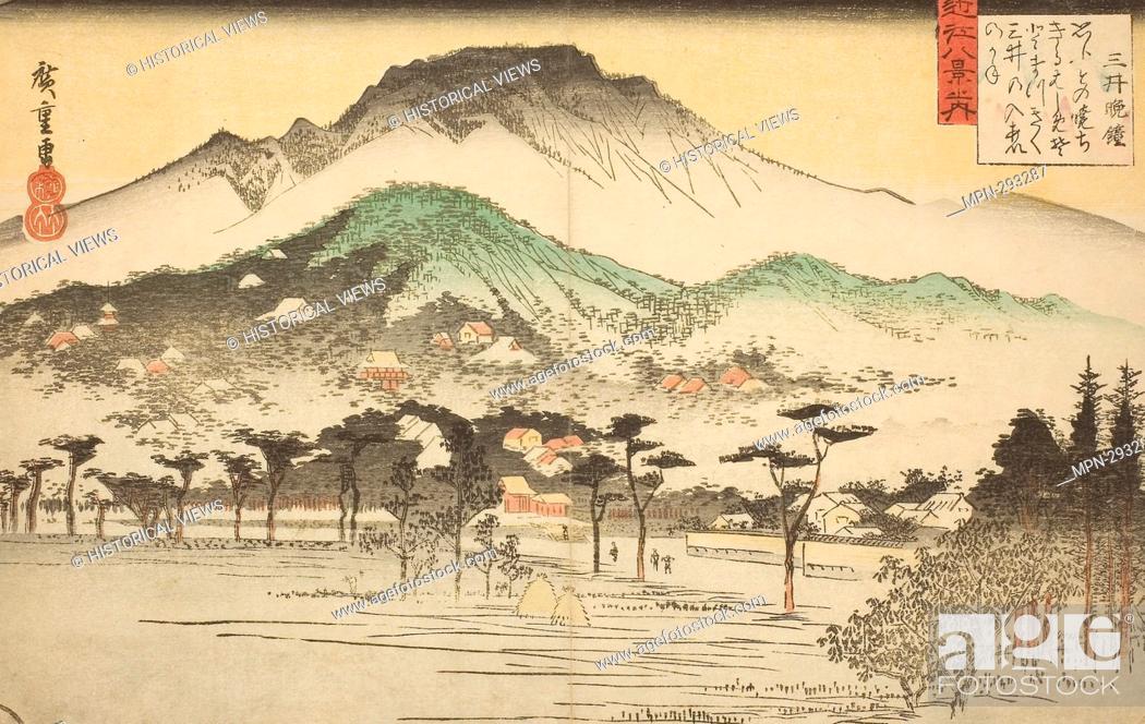 Stock Photo: Author: Utagawa Hiroshige. Evening Bell at Mii Temple (Mii bansho), from the series 'Eight Views of Omi (Omi hakkei no uchi)' - c.