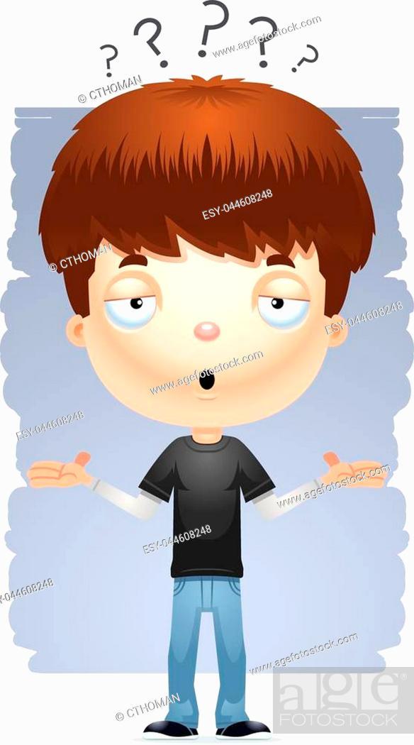 Stock Vector: A cartoon illustration of a teenage boy shrugging.
